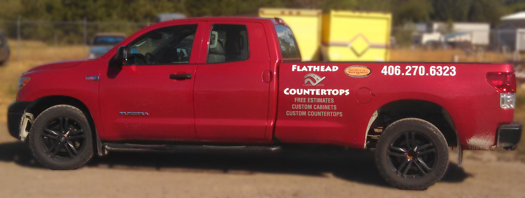 4 West Cabinetry & Flathead Countertops Vehicle Lettering.