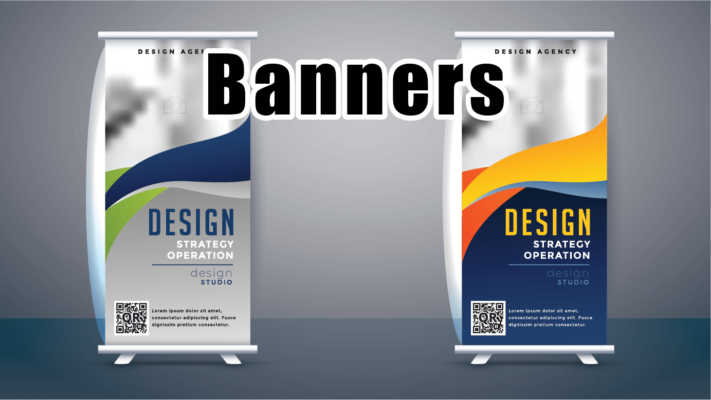 two stand up banners